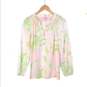 Lilly Pulitzer 100% silk Elsa popover top blouse